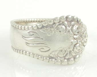 Antique Gorham Lancaster Rose Spoon Ring - M or W - 925 Sterling Silver Size 8.25 Floral Pattern - 4.9g - Spoon circa 1880 - Vintage Jewelry