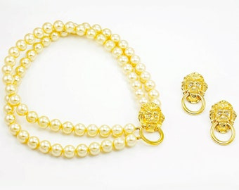 Kenneth Jay Lane Simulated Pearl Lion Necklace Earrings - Vintage Designer Costume Jewelry - 1980s Accessories