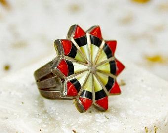 Vintage Southwestern Sterling RIng - 1970's Multi Stone Inlaid Mandala Sunburst Silver Artisan Ring - Vintage Jewelry