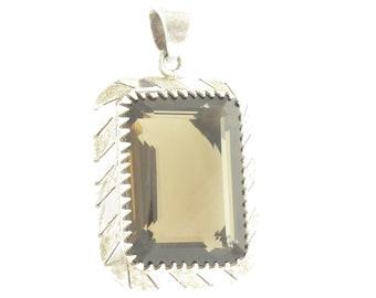 Enormous Smoky Quartz Silver Pendant - Vintage Sterling 100 Carat Emerald Cut Quartz Necklace Pendant - Made in Mexico - Vintage Jewelry