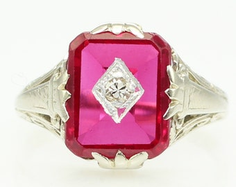 Antique 14K White Gold Filigree Created Ruby Diamond Ring - Art Deco Vintage Fine Jewelry - Size 4 1/2