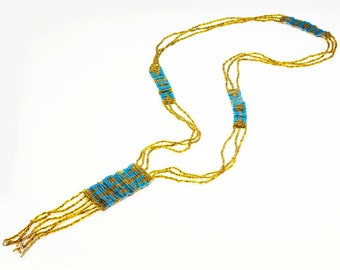 Art Deco Olive & Blue Woven Seed Bead Fringe Flapper Necklace 36 Inches - Antique Beaded Jewelry - Vintage Hand Made Necklace