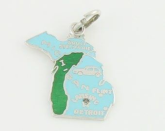 Silver Enamel Michigan Charm - Vintage Sterling Blue Green Enamel Map Pendant Travel Souvenir - Vintage Jewelry