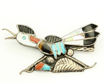 Edward A. Beyuka Zuni Inlay Road Runner Brooch Sterling Silver Turquoise Coral Vintage - New Old Stock Native American Trading Post Jewelry