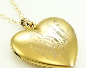 Antique Gold Filled Heart Locket Pendant JM Hand Engraved Monogram - W. & S. Blackinton Co. Jewelry - Victorian Necklace