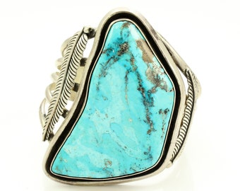Large Vintage Southwestern Turquoise Sterling Silver Cuff Bracelet Feather Decoration - New Old Stock Trading Post Jewelry