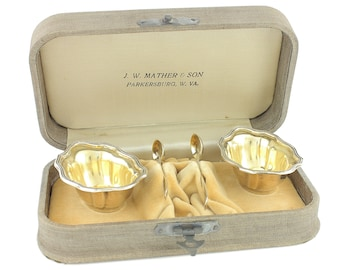 Pair Gorham Sterling Silver Master Salt Cellars Dips Spoons - Gold Washed - Fitted Box Parkersburg WV - 1920 Date Mark - Dining Accessory