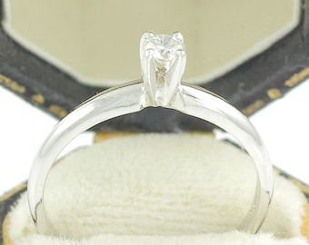 White Gold Diamond Solitaire Ring - .14 CT Diamond 14K Engagement Ring - I1 G-H -Size 6.75 c1990 -New Old Stock - Retro Vintage Fine Jewelry