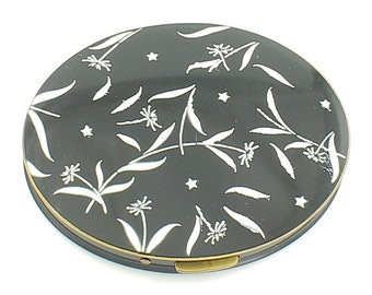 Vintage Rex Fifth Avenue Oval Compact - White on Black Mid Century Modern Flowers - Never Used with Puff Sifter - Vintage Ladies Accessory