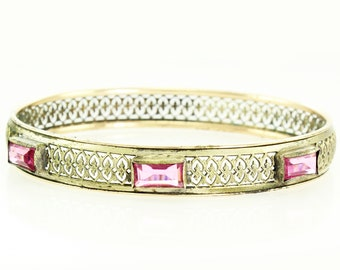 Art Deco Filigree Bangle - Vintage Gold Tone 8.25 Inch Bracelet with Pink Paste Stones - Estate Jewelry