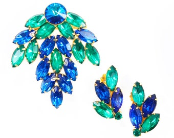 Peacock Blue Green Rhinestone Jewelry Set - 1960s Brooch and Earrings - Vintage Crystal Jewelry