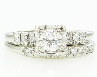 Diamond Wedding Rings - Vintage .45 CT TW 14K White Gold Engagement Band Bridal Set - c1950 Size 6.5