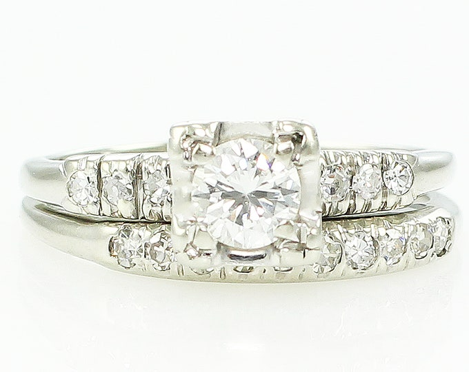 Featured listing image: Diamond Wedding Rings - Vintage .45 CT TW 14K White Gold Engagement Band Bridal Set - c1950 Size 6.5