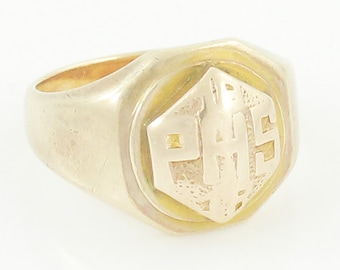 Antique Rosy Gold Class Ring - 10K Yellow Gold PHS Parkersburg High School WV Ladies Ring Size 3 5.7 gram - Estate Vintage Fine Jewelry