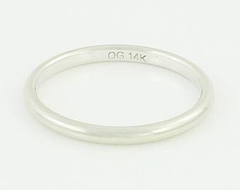 14K White Gold Wedding Band - 585 Wedding Band 2mm Wide Size 7 - Vintage Fine Jewelry