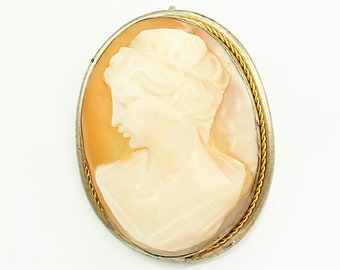 Antique Hand Carved Pink White Shell Lady Cameo Pendant Brooch 800 Silver 10K Gold Wash Frame - Vintage Estate Jewelry - European Cameos