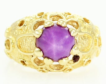 Mid Century Modern 14K Dome Ring with Linde Star Ruby - MCM Jewelry - Yellow Gold Modernist Ladys Ring