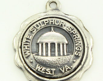 White Sulphur Springs Charm - Sterling Silver West Virginia Travel Souvenir - Signed Spencer - circa 1960