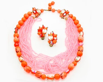 Vintage Bright Orange Tulip and Pink Beaded Statement Torsade Necklace and Earrings Set - Sixties Estate Jewelry