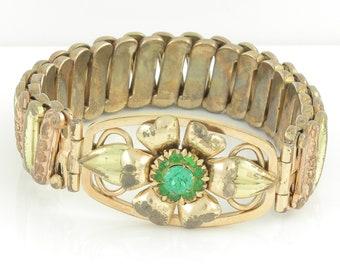 Vintage Sweetheart Expansion Bracelet - Green Rhinestone Flower - Luster Louis Stern Co U.S.A Original Box - Rose Yellow Gold Fill Sterling