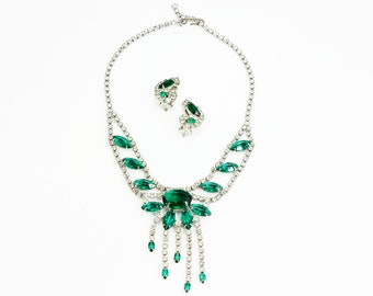 Vintage Signed Cathe Green Crystal Fringe Statement Necklace And Earring Set - Signed Vintage Costume Jewelry