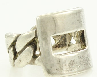 Mid-Century UnoAErre 800 Silver Chain Buckle Ring - Adjustable Modern Ring - Italian Silver Jewelry
