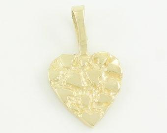 Eighties 14K Yellow Gold Nugget Heart Pendant - Dainty Little Love Token - 3/8 X 5/8 Inch 0.5 gram Retro 1980s - Vintage Estate Jewelry