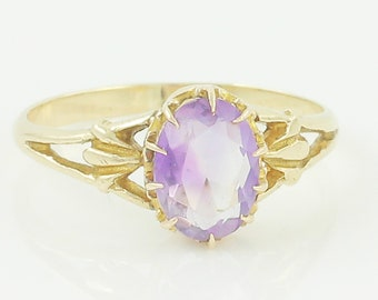 Gold Oval Amethyst Ring - Antique Edwardian 14K Yellow Gold Solitaire - Size 6.25 1910s - Vintage Fine Jewelry