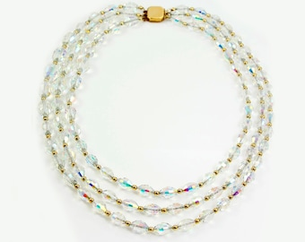 Vintage Aurora Borealis Faceted Crystal Bead Gold Tone Triple Strand Necklace - 1960s Beaded Choker