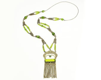 Vintage Art Deco Olivine Green Czech Glass Brass Filigree 34 Inch Necklace. 1920 Necklace. Flapper Jewelry. Czechoslovakian Crystal.