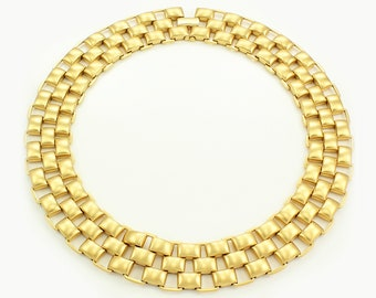 Bold Vintage Monet Collar Statement Necklace - Satin Finish Gold Tone Basket Weave - Cleopatra Runway Collar - 1980s Jewelry