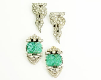 Art Deco Rhinestone Dress Clips - Vintage Crystal and Jadeite Glass Ornaments Two Pair - 1930s Costume Jewelry
