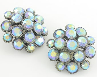 1950s BSK Blue Aurora Borealis Rhinestone Earrings - Domed Cluster Blue Crystal Button Clip Ons - Vintage Signed Costume Jewelry