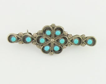 Silver Turquoise Southwestern Pin - Petit Point Snake Eye Needlepoint 925 Sterling Turquoise Brooch - Old Pawn Jewelry - Vintage Jewelry