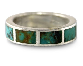 Silver Turquoise Southwestern Ring - Sterling Silver  Turquoise Inlay Wedding Band Hippie Size 10.5 - New Old Stock -  Vintage Fine Jewelry