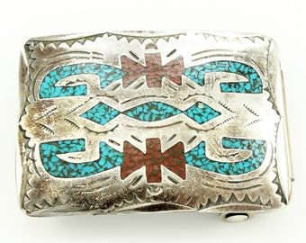 "Silver Turquoise Coral Belt Buckle - Old Pawn Native American Sterling Jewelry - Micro Mosaic Stone Inlay - Signed B - Fits 1"" Belt"