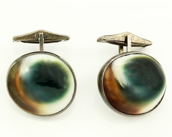 Mid Century Sterling SIlver Operculum Shell Cuff Links - Vintage Shiva Eyes Jewelry
