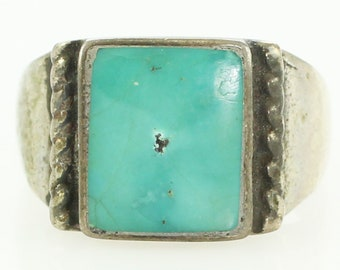 Silver Turquoise Ring - Sterling Signet Style Ring for Pinkie or Child Size 4 - Vintage New Old Stock Trading Post Jewelry