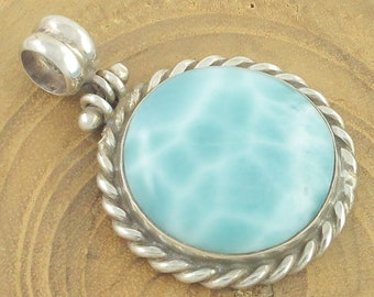 Larimar Sterling Silver Pendant - Vintage Caribbean Sea Blue Larimar Large Round Necklace Pendant - Vintage Jewelry