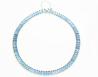 Vintage Signed B. David Light Blue Baguette Rhinestone Choker Necklace - 1950s Formal Babay Blue Crystal Jewelry