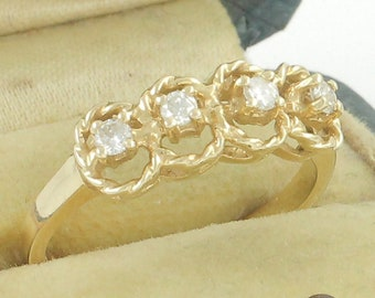 14K Diamond Wedding Band - Yellow Gold Rope Design Ring with Four Natural Diamonds .20 CT TW - Circa 1980 Size 6.75 - Vintage Fine Jewelry