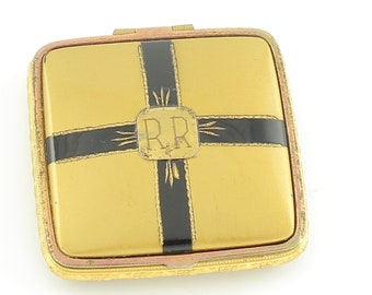 Vintage Art Deco Square Cushion Dual Compact - Gold Tone with Black Enamel - Powder and Rouge - Engraved RR - Vintage Ladies Accessory