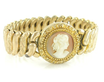 Antique Shell Cameo Expansion Bracelet - Pitman Keeler American Queen Edwardian Sweetheart - 4.5 Inch for Small Wrist - Vintage Jewelry