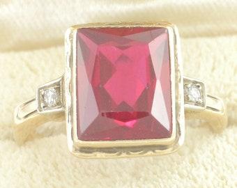 Art Deco 10K Yellow Gold Lab Created Ruby Diamond Ring - .06 Ct Diamond - Scissor Cut - 2.73 gr Circa 1940 Size 6 1/2 - Vintage Fine Jewelry