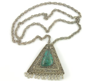 Vintage Eliat Stone Sterling Necklace - Natural Blue Green Stone 935 Silver  Israel Yemenite Filigree Pendant Brooch - Vintage Jewelry
