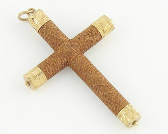 Victorian Woven Hair 10K Gold Filled Cross - Antique Mourning Hairwork Pendant Fob Engraved Fittings - Auburn Red Hair - Vintage Jewelry