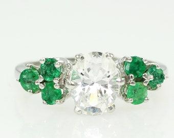 Vintage 14K White Gold YAG Lab Created Emerald Engagement Ring - Yttrium Aluminum Garnet Diamond Simulant Ring - 1960s Estate Jewelry