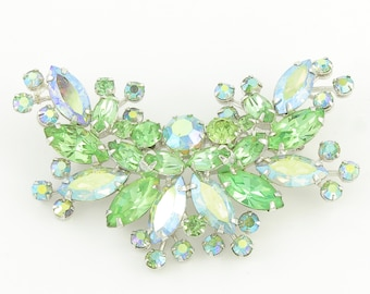 Weiss Rhinestone Brooch - Mint Green Aurora Borealis Crystal Pin - Designer Signed Costume Vintage Jewelry