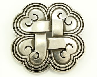 Vintage 940 Silver Quatrefoil Brooch Pendant Signed Hector Aguilar Taxco - Mid Century Modern Mexican Silver Jewelry