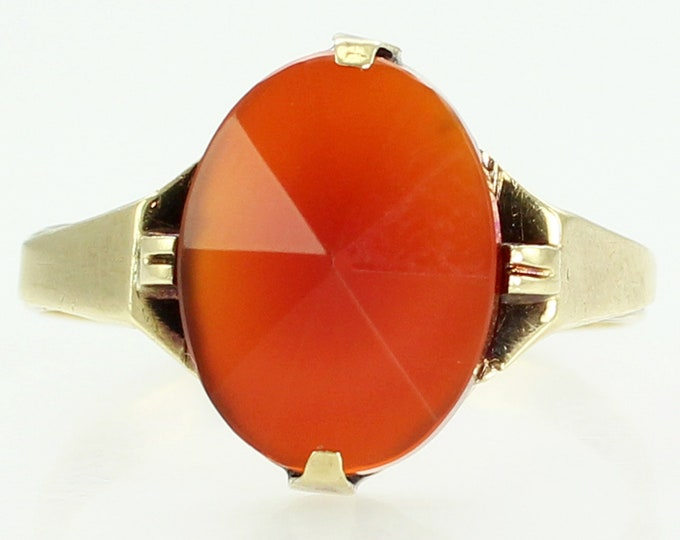 Featured listing image: Vintage Art Deco 18K Yellow Gold Oval Faceted Carnelian Ring Size 7